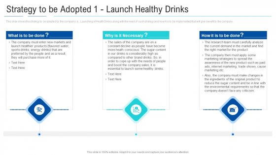 Soft Drink Firm Revamping Business To Healthy Drinks Strategy To Be Adopted 1 Launch Healthy Drinks Graphics PDF