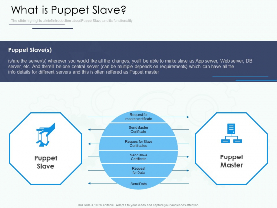 Software Configuration Management And Deployment Tool What Is Puppet Slave Ppt Outline Graphic Images PDF