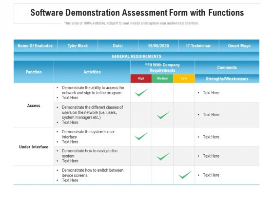 Software Demonstration Assessment Form With Functions Ppt Inspiration Designs PDF