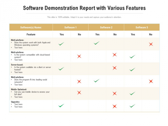 Software Demonstration Report With Various Features Ppt Layouts Tips PDF