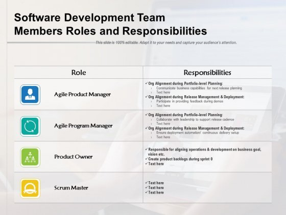 Software Development Team Members Roles And Responsibilities Ppt PowerPoint Presentation File Gallery PDF