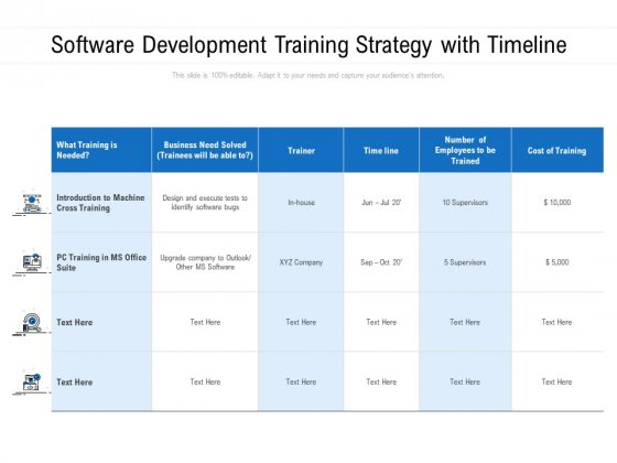 Software Development Training Strategy With Timeline Ppt PowerPoint Presentation File Infographic Template PDF