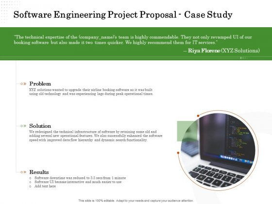 Software Engineering Project Proposal Case Study Ppt Gallery Master Slide PDF