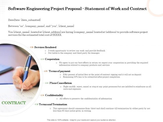 Software Engineering Project Proposal Statement Of Work And Contract Ppt Pictures Samples PDF