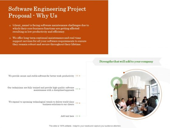 Software Engineering Project Proposal Why Us Ppt Gallery Background Image PDF