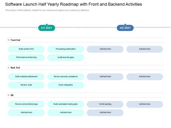 Software Launch Half Yearly Roadmap With Front And Backend Activities Graphics