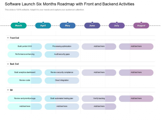 Software Launch Six Months Roadmap With Front And Backend Activities Clipart