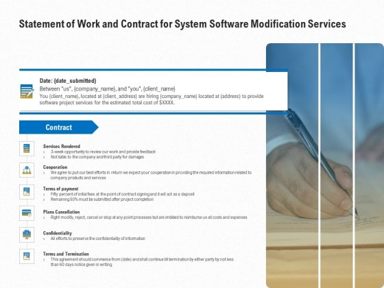 Software Maintenance Statement Of Work And Contract For System Software Modification Services Designs PDF