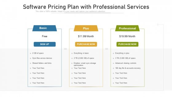 Software Pricing Plan With Professional Services Ppt Infographic Template Introduction PDF