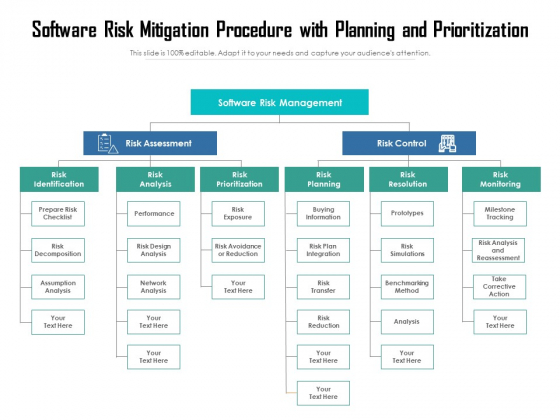 Software Risk Mitigation Procedure With Planning And Priortization Ppt PowerPoint Presentation Gallery Show PDF