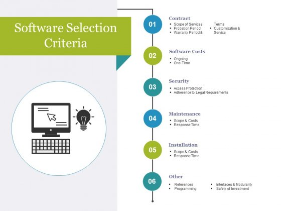 Software Selection Criteria Template 1 Ppt PowerPoint Presentation Infographic Template Portrait