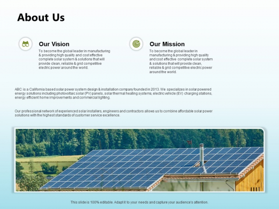 Solar Power Plant Technical About Us Ppt Icon Summary PDF