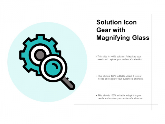 Solution Icon Gear With Magnifying Glass Ppt PowerPoint Presentation Portfolio Slide Download