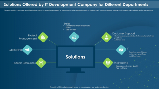 Solutions Offered By IT Development Company For Different Departments Diagrams PDF