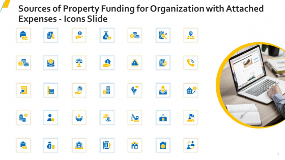 Sources Of Property Funding For Organization With Attached Expenses Icons Slide Guidelines PDF