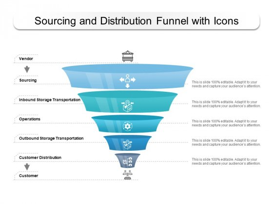 Sourcing And Distribution Funnel With Icons Ppt PowerPoint Presentation Styles Grid