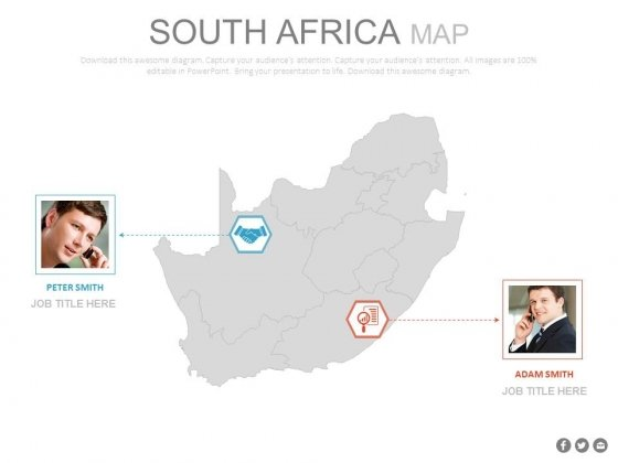 South Africa Map With Two Professionals Powerpoint Slides