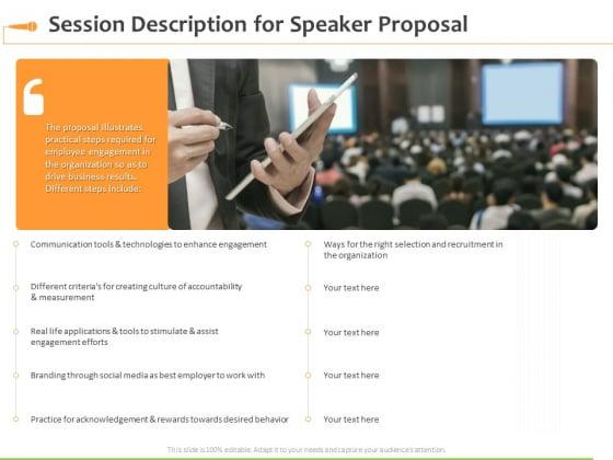 Speaking Engagement Session Description For Speaker Proposal Ppt Summary Grid PDF