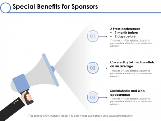 Special Benefits For Sponsors Ppt PowerPoint Presentation Layouts Backgrounds