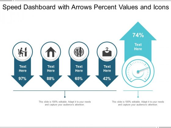 Speed Dashboard With Arrows Percent Values And Icons Ppt PowerPoint Presentation Infographic Template Model