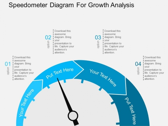 Speedometer Diagram For Growth Analysis Powerpoint Template