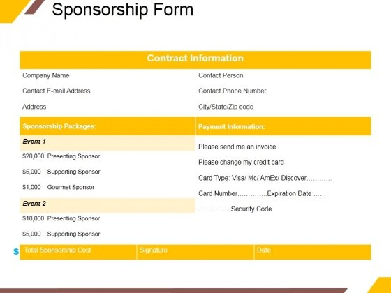 Sponsorship Form Ppt PowerPoint Presentation Styles Icons