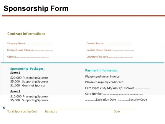 Sponsorship Form Ppt Powerpoint Presentation Styles Layout