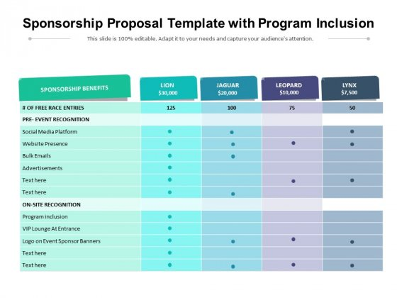 Sponsorship Proposal Template With Program Inclusion Ppt PowerPoint Presentation File Background Designs PDF