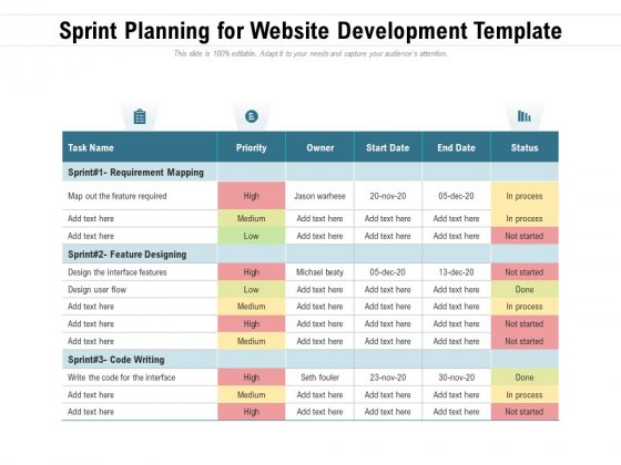 Sprint Planning For Website Development Template Ppt PowerPoint Presentation Ideas Deck PDF