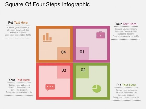 Square Of Four Steps Infographic Powerpoint Templates