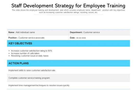 Staff Development Strategy For Employee Training Ppt PowerPoint Presentation Gallery Tips PDF