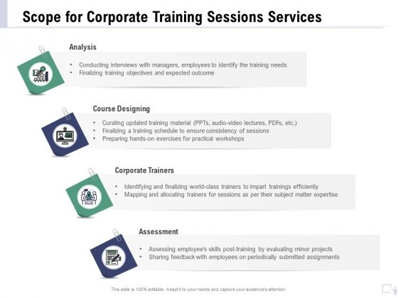 Staff Engagement Training And Development Proposal Scope For Corporate Training Sessions Services Microsoft PDF