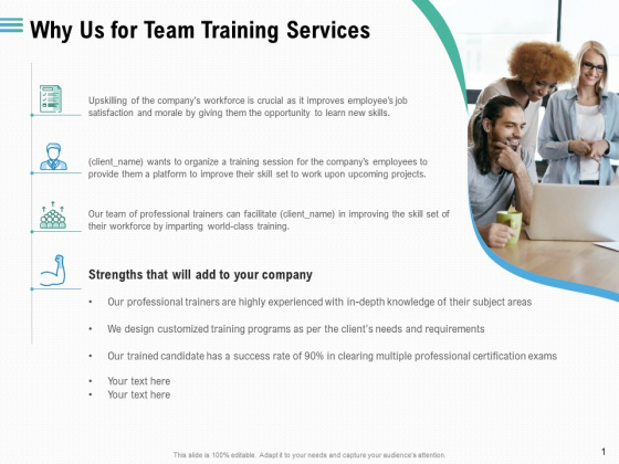 Staff Engagement Training And Development Why Us For Team Training Services Demonstration PDF