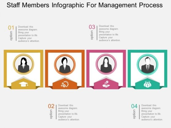 Staff Members Infographic For Management Process Powerpoint Template