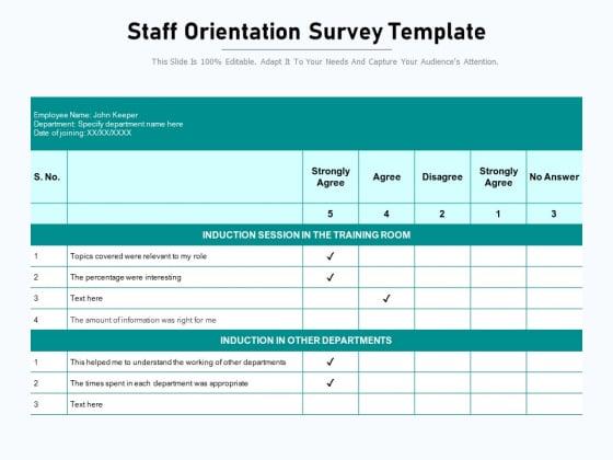 Staff Orientation Survey Template Ppt PowerPoint Presentation File Show PDF