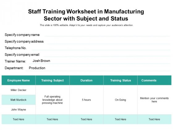 Staff Training Worksheet In Manufacturing Sector With Subject And Status Ppt PowerPoint Presentation Icon Portfolio PDF