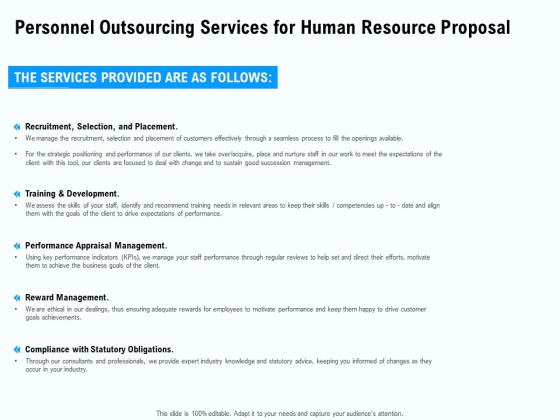 Staffing Offshoring Proposal Personnel Outsourcing Services For Human Resource Proposal Ppt Infographic Template Slides PDF