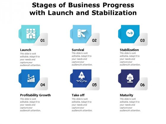 Stages Of Business Progress With Launch And Stabilization Ppt PowerPoint Presentation Gallery Mockup PDF