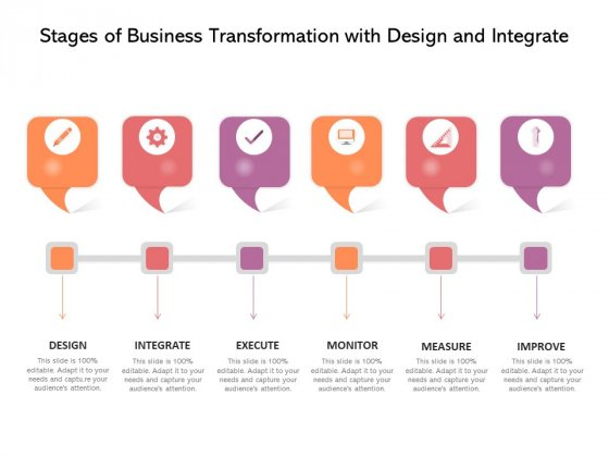 Stages Of Business Transformation With Design And Integrate Ppt PowerPoint Presentation Gallery Icons PDF