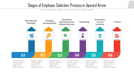 Stages Of Employee Selection Process In Upward Arrow Ppt Infographic Template Visuals PDF