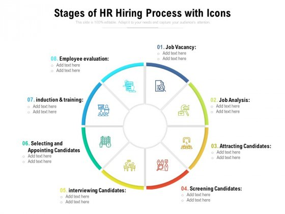 Stages Of HR Hiring Process With Icons Ppt PowerPoint Presentation Gallery Clipart PDF