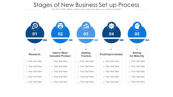 Stages Of New Business Set Up Process Ppt PowerPoint Presentation Icon Background Images PDF
