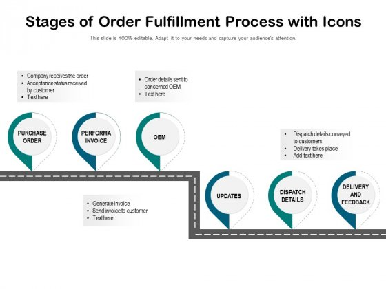 Stages Of Order Fulfillment Process With Icons Ppt PowerPoint Presentation Gallery Influencers PDF