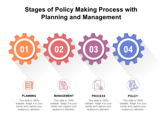 Stages Of Policy Making Process With Planning And Management Ppt PowerPoint Presentation Icon Show PDF