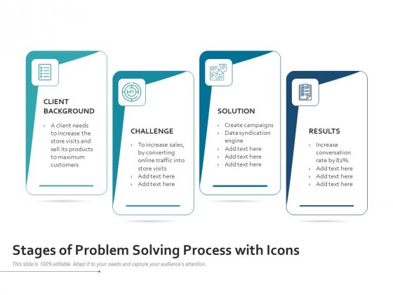Stages Of Problem Solving Process With Icons Ppt PowerPoint Presentation Gallery Skills PDF