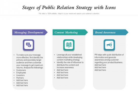 Stages Of Public Relation Strategy With Icons Ppt PowerPoint Presentation Model Deck PDF