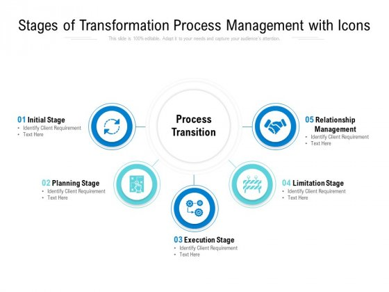 Stages Of Transformation Process Management With Icons Ppt PowerPoint Presentation Show Design Ideas