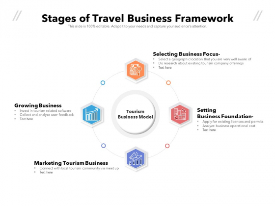 Stages Of Travel Business Framework Ppt PowerPoint Presentation File Ideas PDF