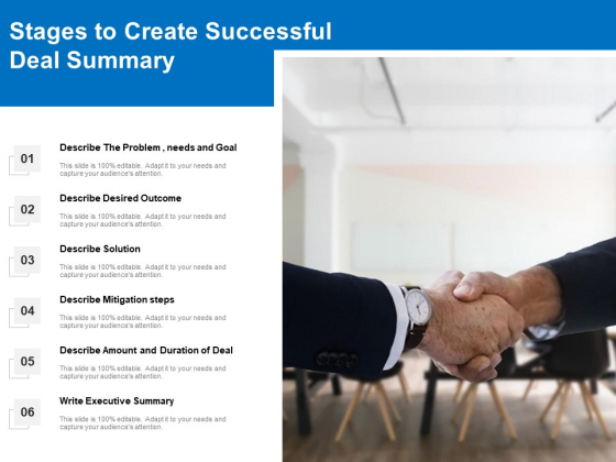 Stages To Create Successful Deal Summary Ppt PowerPoint Presentation Gallery Graphics Example PDF