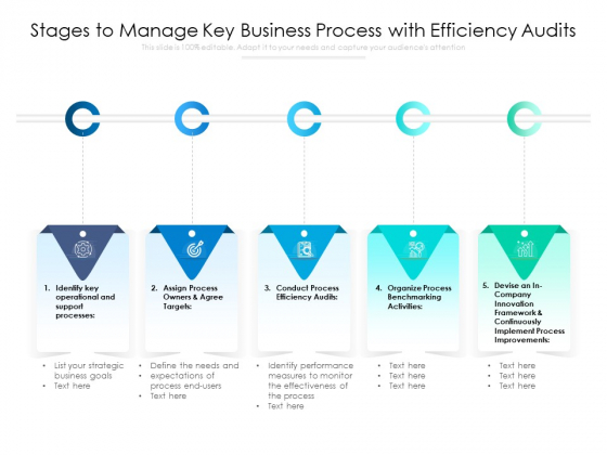 Stages To Manage Key Business Process With Efficiency Audits Ppt PowerPoint Presentation Gallery Slides PDF